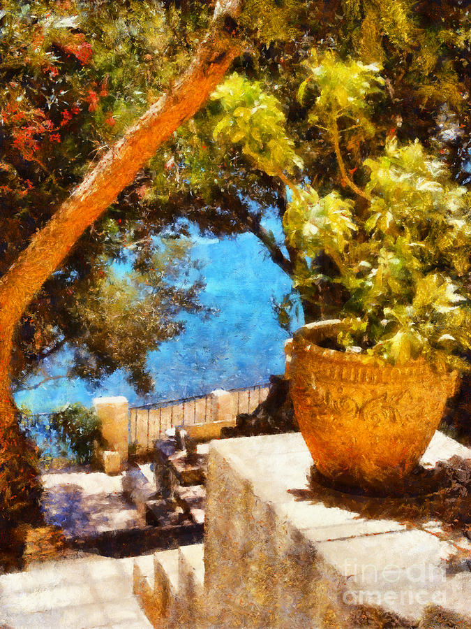 Corporate Painting - Mediterranean Steps by Pixel Chimp