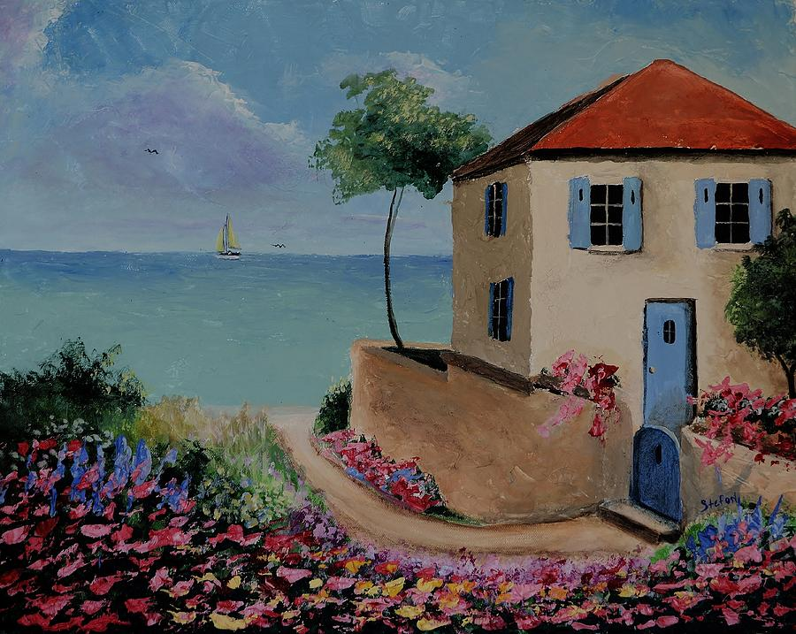 Mediterranean Sea Painting - Mediterranean Villa by Stefon Marc Brown