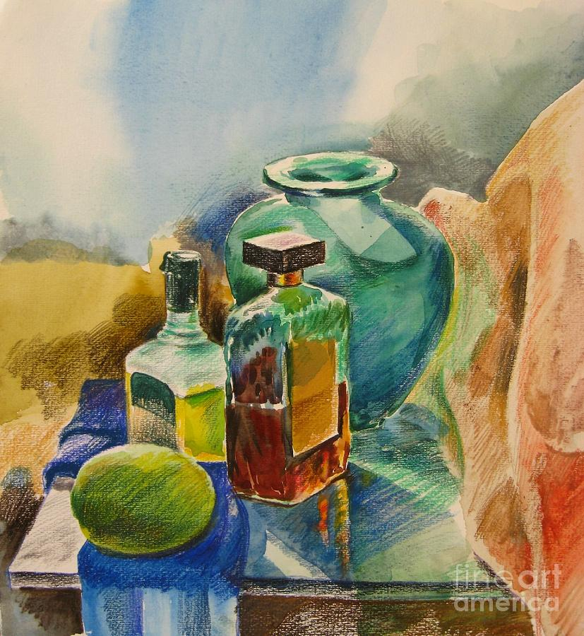 Watercolor Pencil Painting - Mediterranean Winter Still Life  by Anna Lobovikov-Katz