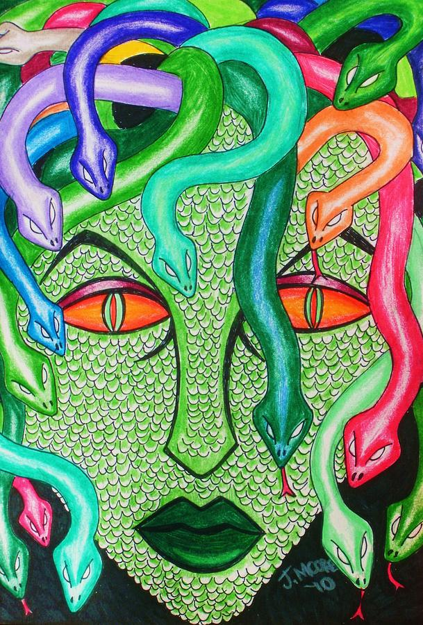 Medusa Gorgon Greek Mythology Titan Ancient Gods Serpent Snakes Drawing - Medusa by Jeremy Moore
