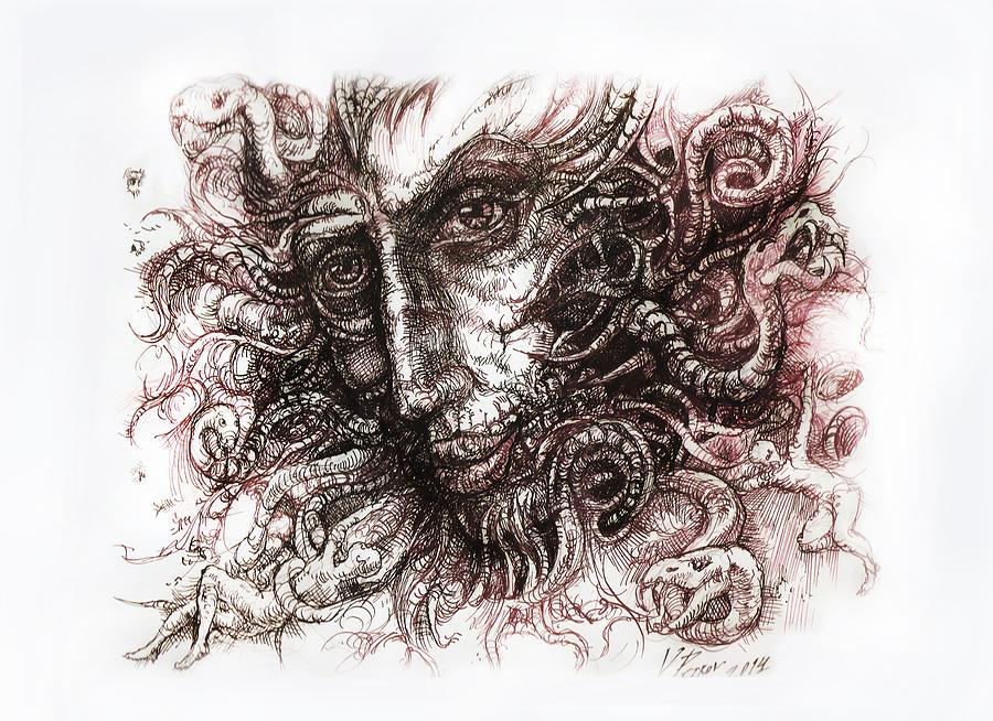 Watercolor Paintings Digital Art - Medusa by Vladimir Petrov