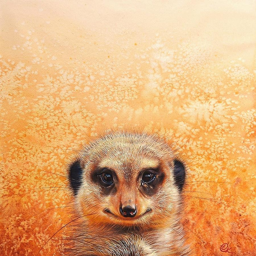 Animal Drawing - Meerkats Smile by Elena Kolotusha