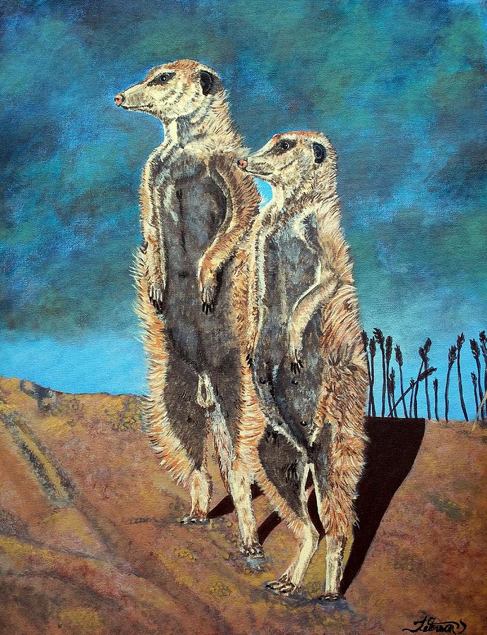 Meerkats Painting - Meerkats by Teresa  Peterson