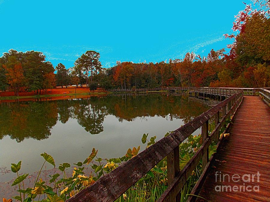 Pond Photograph - Meet Me On The Bridge by Annette Allman