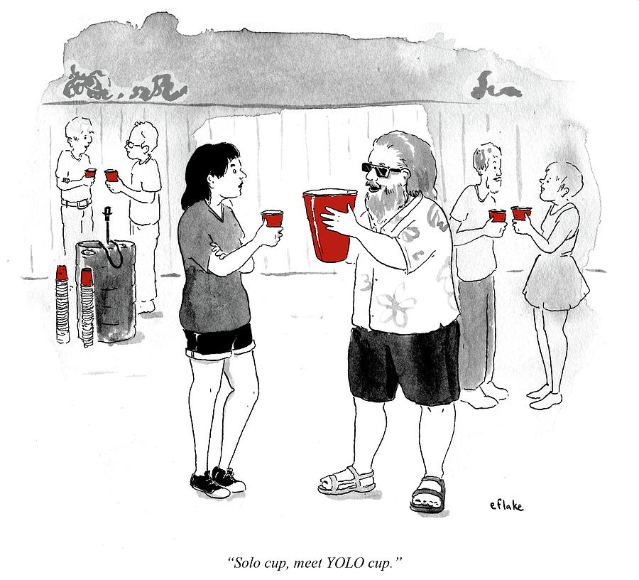 Solo Cup Drawing - Meet Yolo Cup by Emily Flake