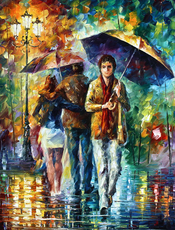 Umbrella Painting - Meeting My Ex by Leonid Afremov