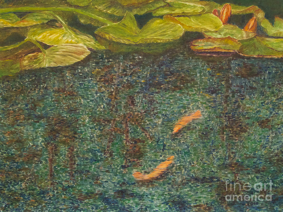 Water Lilies Painting - Meeting Place by Milly Tseng