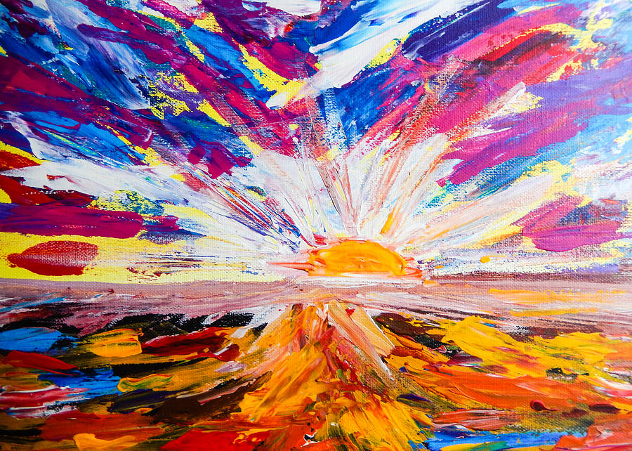 Landscape Painting - Meeting the Sun Abstract Landscape by Eliza Donovan