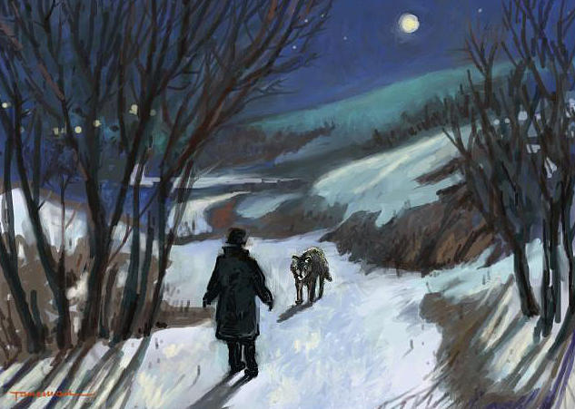 Landscape Painting - Meeting The Wolf by Tancau Emanuel