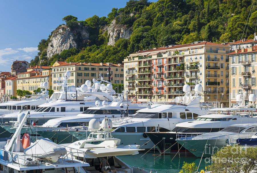 Nice Photograph - Mega Yachts In Port Of Nice France by Elena Elisseeva