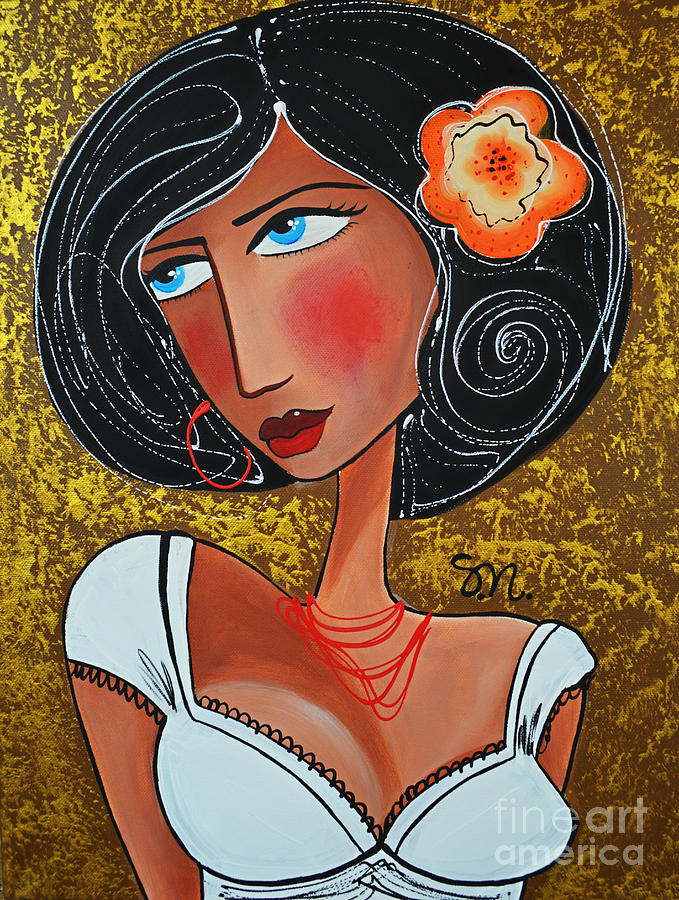 Woman Painting - Megan by Maria Sopoglidou