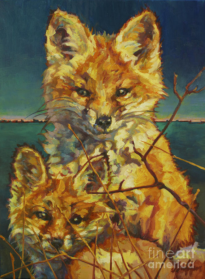 Fox Painting - Mel And Todd by Patricia A Griffin