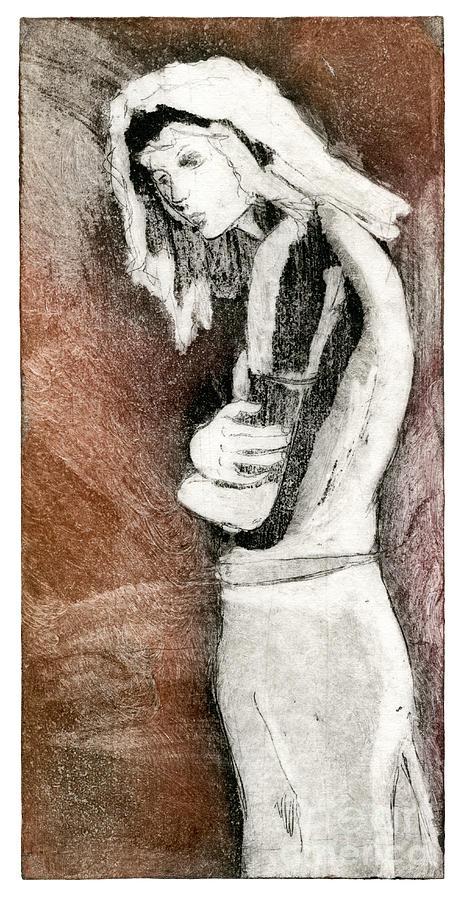 Melancholy - Etching - Girl - Body - Sadness - Stooping - Woman - Fine Art Print - Stock Image Painting