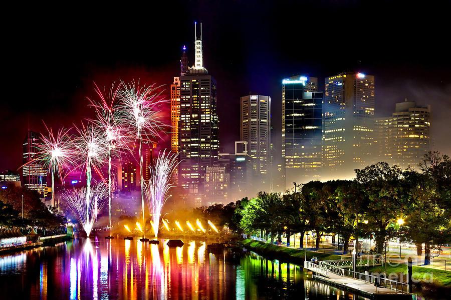 Melbourne Photograph - Melbourne Fireworks Spectacular by Az Jackson