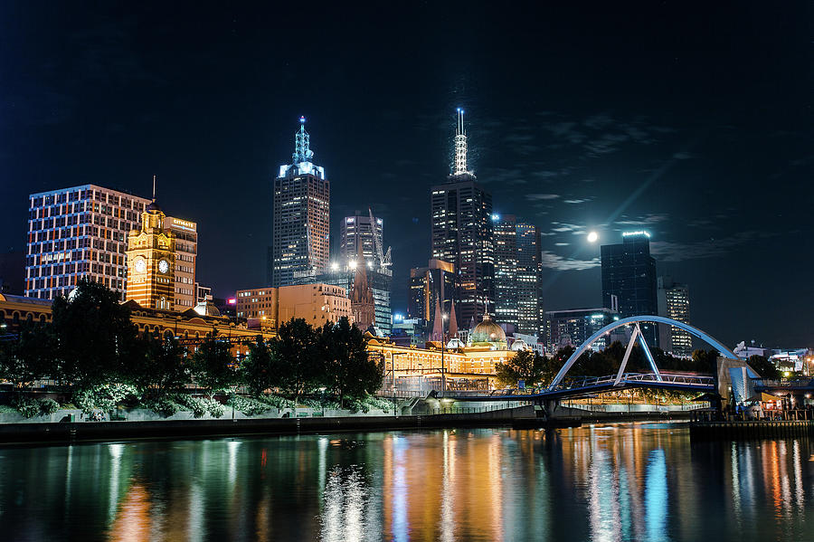 Melbourne In Night Photograph by Kenji Lau