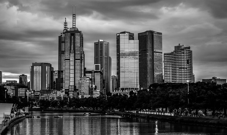 Melbourne photograph melbourne skyline black and white by heather provan