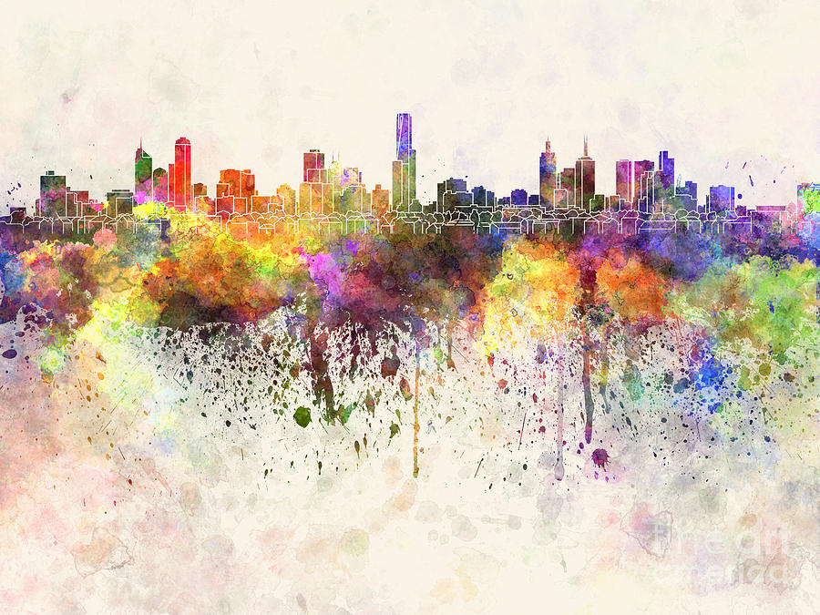 Melbourne skyline in watercolor background painting by for Background painting ideas