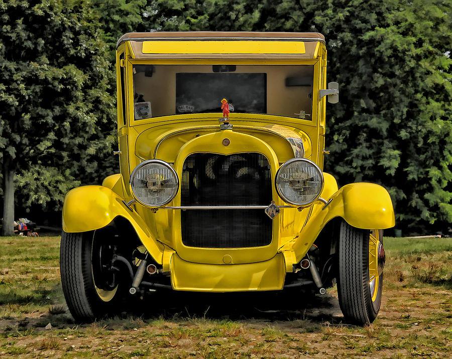 Antique Car Photograph - Mellow Yellow by Liz Mackney