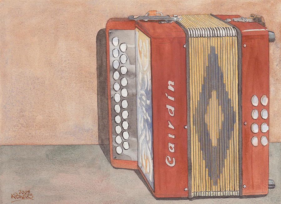 Button Painting - Melodeon Four by Ken Powers