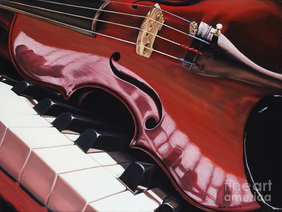 Piano Painting - Melodic Reflections by Ann Holder