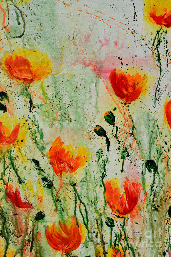 Acrylic Painting Painting - Melody Of Spring- Flower by Ismeta Gruenwald