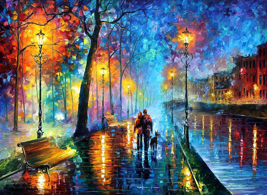 Leonid Afremov Painting - Melody Of The Night - PALETTE KNIFE Landscape Oil Painting On Canvas By Leonid Afremov by Leonid Afremov