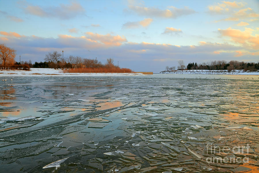 Winter Photograph - Melting Ice At Dusk by Charline Xia