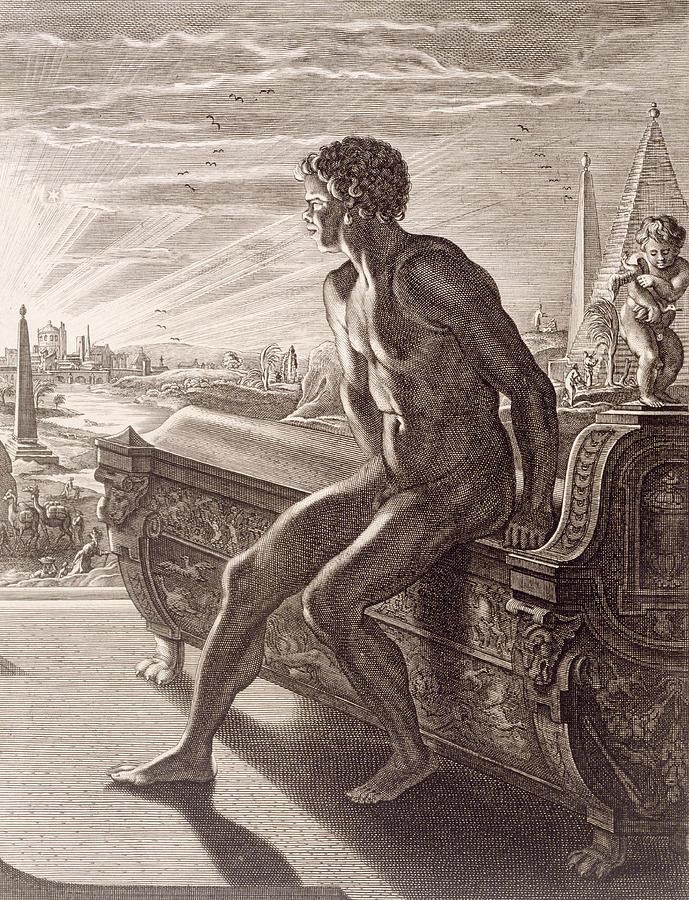 Picart Painting - Memnons Statue by Bernard Picart