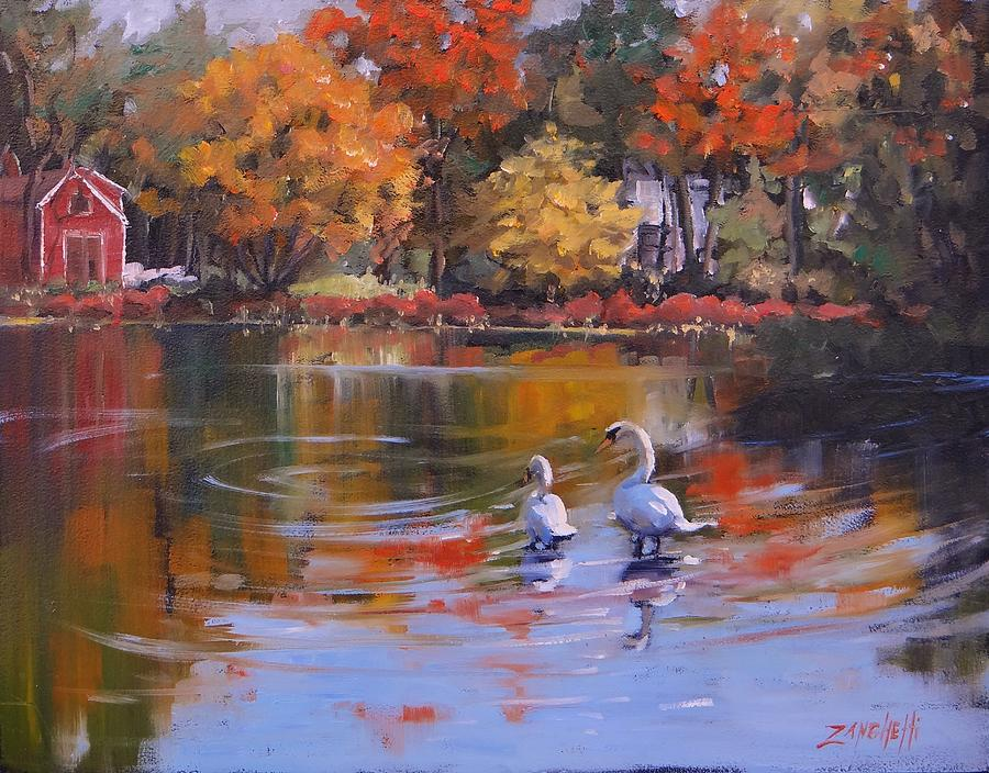 Fall Painting - Memorial Pond by Laura Lee Zanghetti