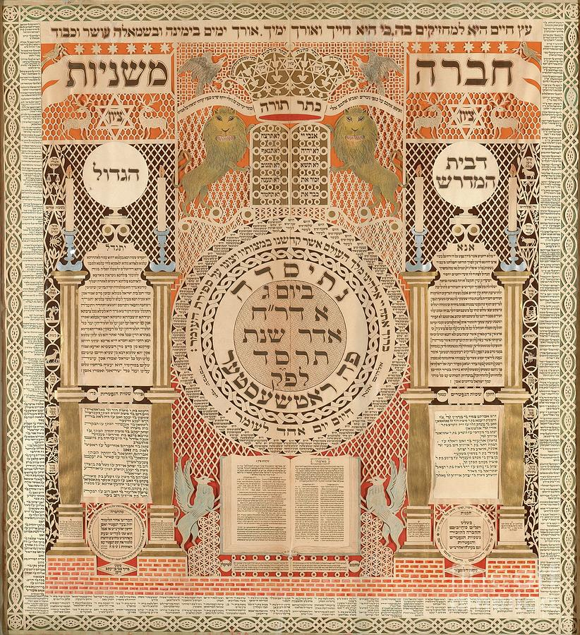 Israel Painting - Memorial Tablet And Omer Calendar  by Celestial Images
