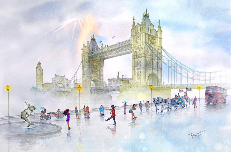 England Canvas Image Prints Painting - Memories Of London Bridge England by John YATO