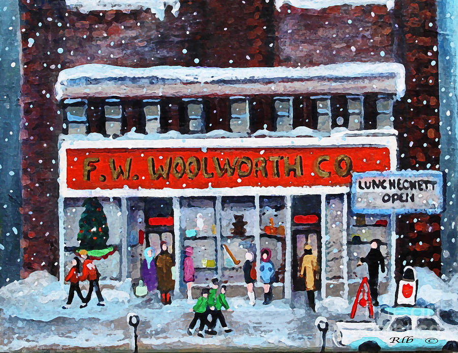 Landscape Painting - Memories Of Winter At Woolworths by Rita Brown