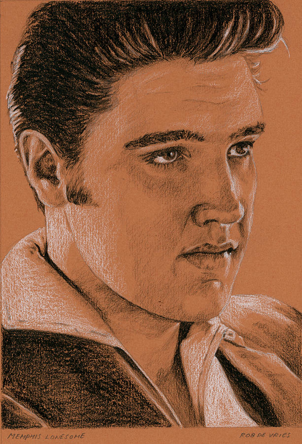 Elvis Drawing - Memphis Lonesome by Rob De Vries