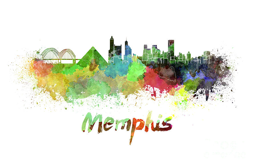Memphis Skyline In Watercolor Painting By Pablo Romero