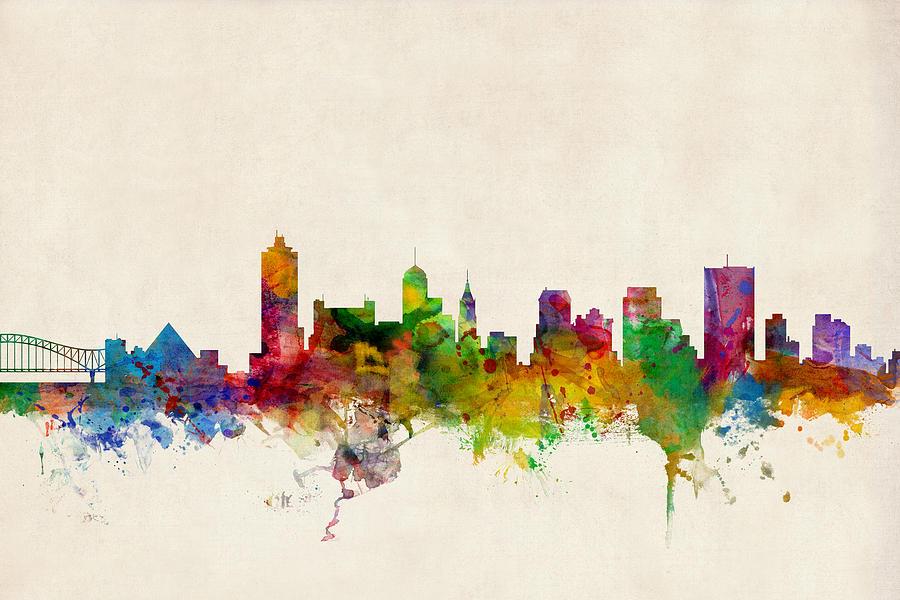 Watercolour Digital Art - Memphis Tennessee Skyline by Michael Tompsett
