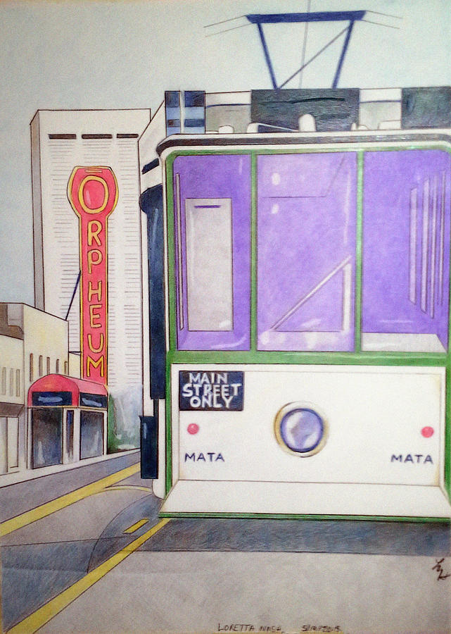 Landscape Drawing - Memphis Trolley by Loretta Nash