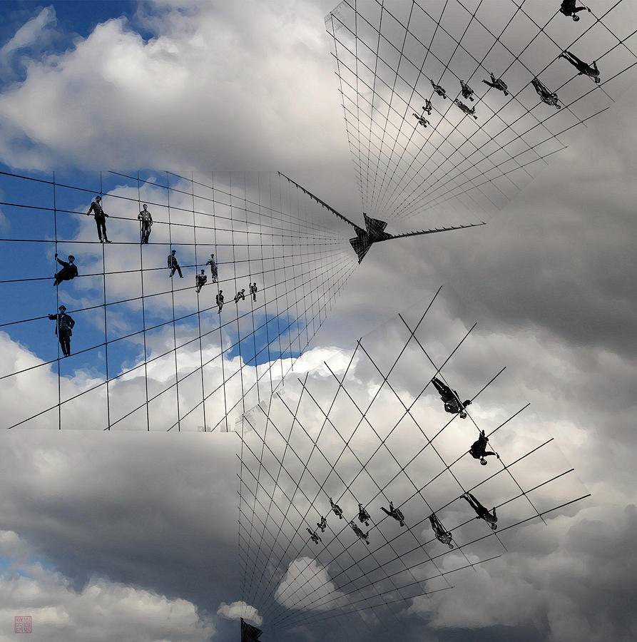 Clouds Digital Art - Men Hanging On by Roger Smith