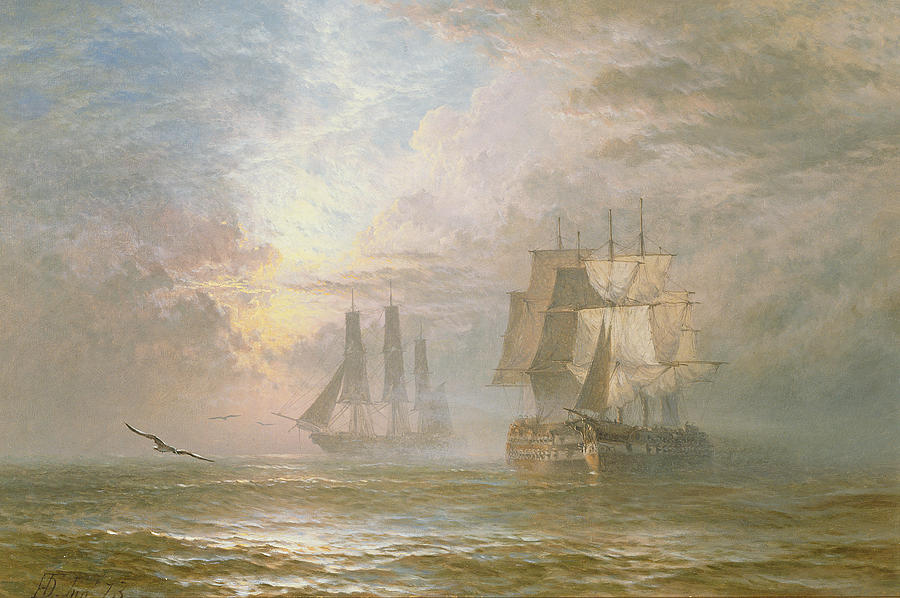 Seagulls Painting - Men Of War At Anchor by Henry Thomas Dawson