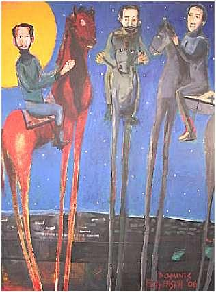 Figurative Painting - Men On High Horses by Dominic Fetherston