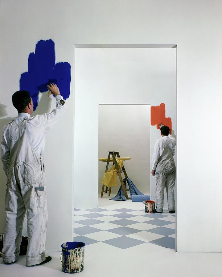 Men Painting Walls Photograph by Herbert Matter