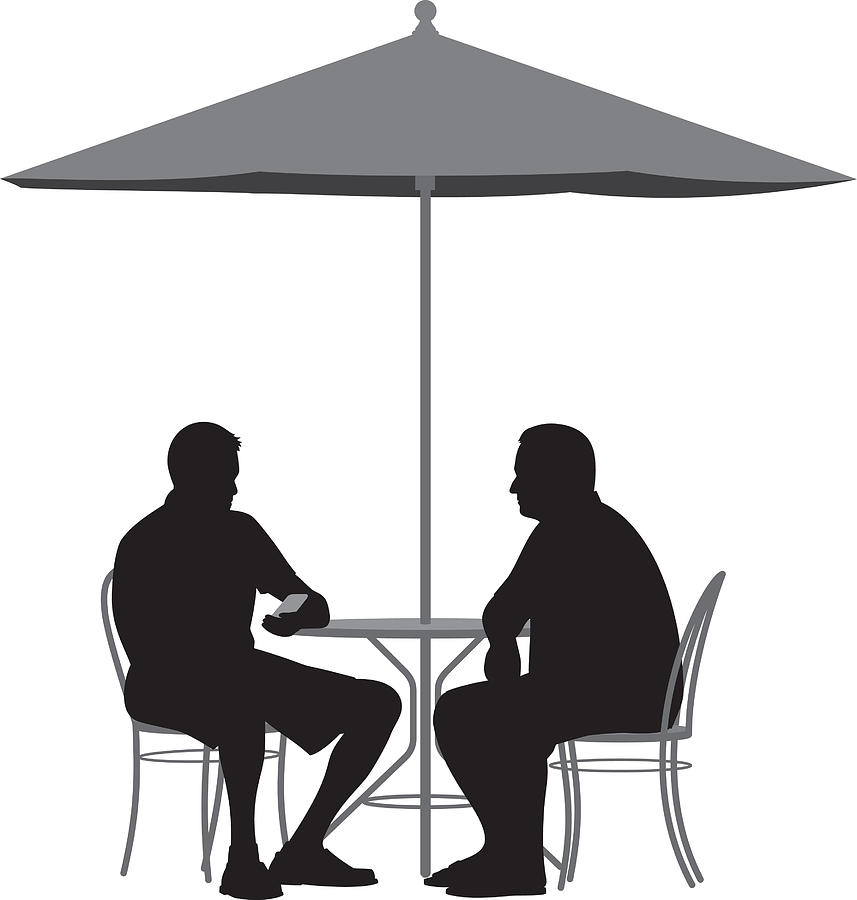 3acfbb40738be Men Sitting At Table Under Umbrella Silhouette Drawing by JakeOlimb