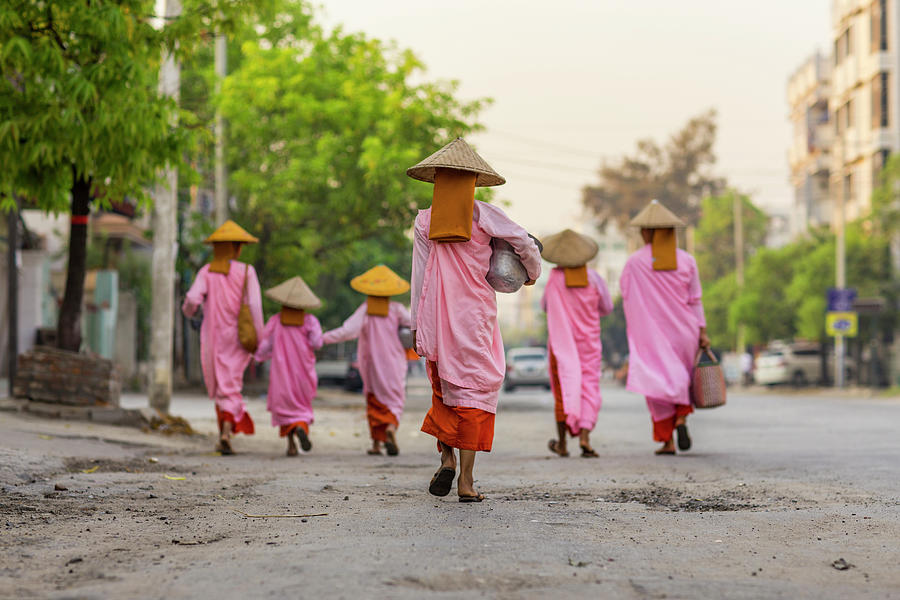 Mendicant Nuns On Morning Walk Photograph by Merten Snijders
