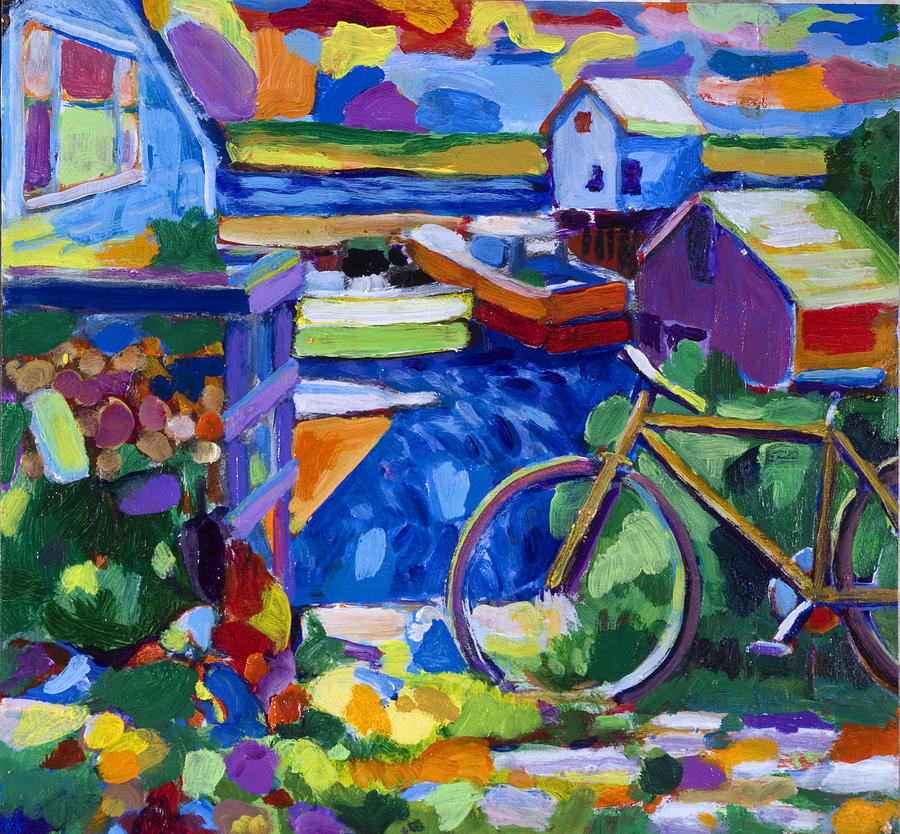 Boats Painting - Menemsha At The Top Of The Stairs by Michael Phelps Morse