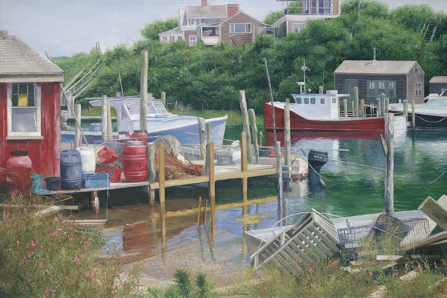 Marthas Vineyard Painting - Menemsha Harbor Reds - Marthas Vineyard by Julia OMalley-Keyes