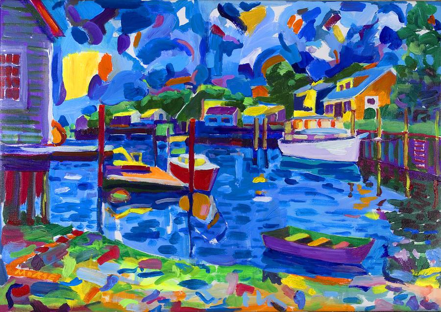 Harbor Painting - Menemsha Row Boat by Michael Phelps Morse