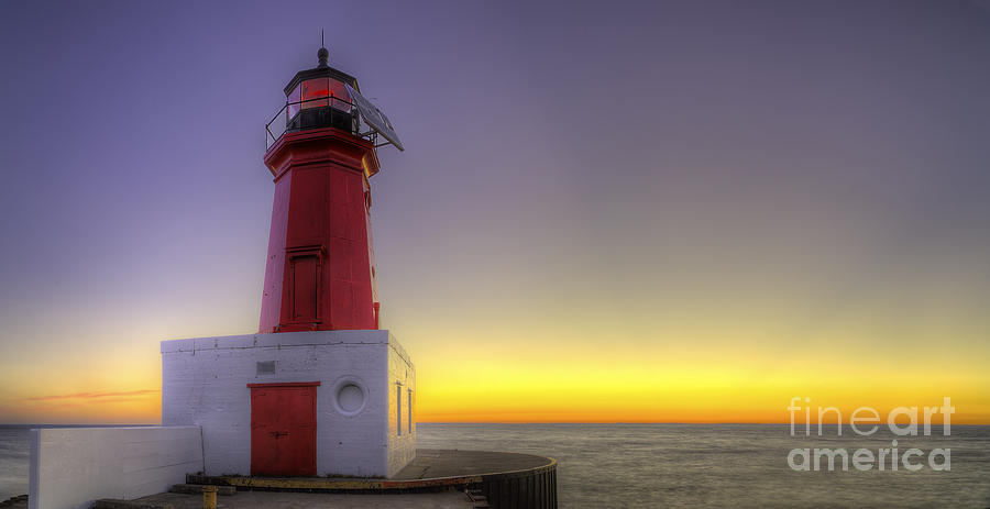 Menominee Photograph - Menominee Lighthouse At Sunrise by Twenty Two North Photography