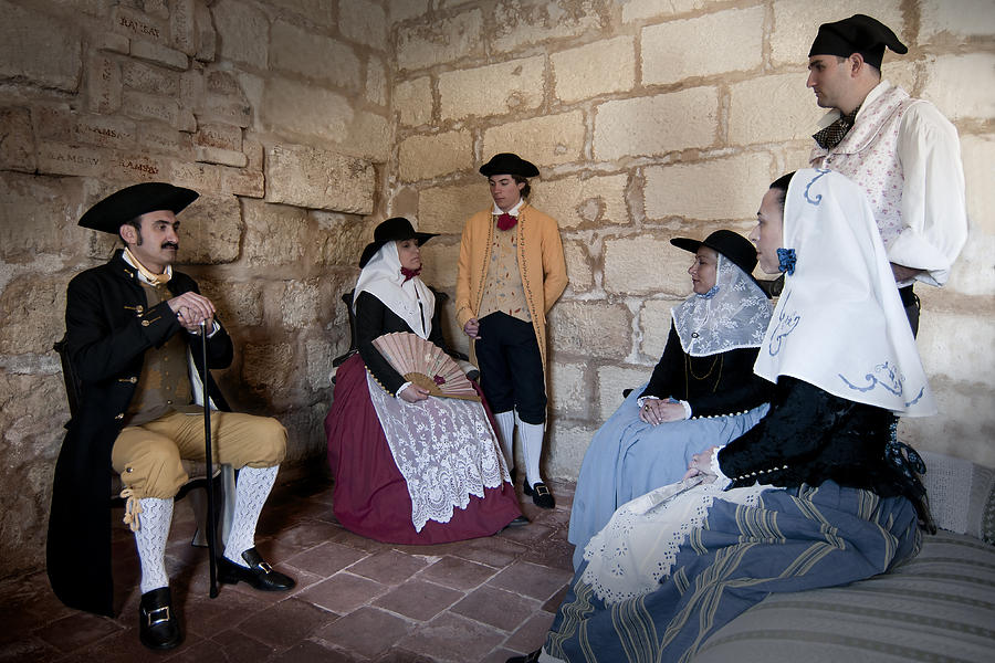 Adult Photograph - Menorquins Dress And Suit  Back In Time Xviii Century by Pedro Cardona Llambias