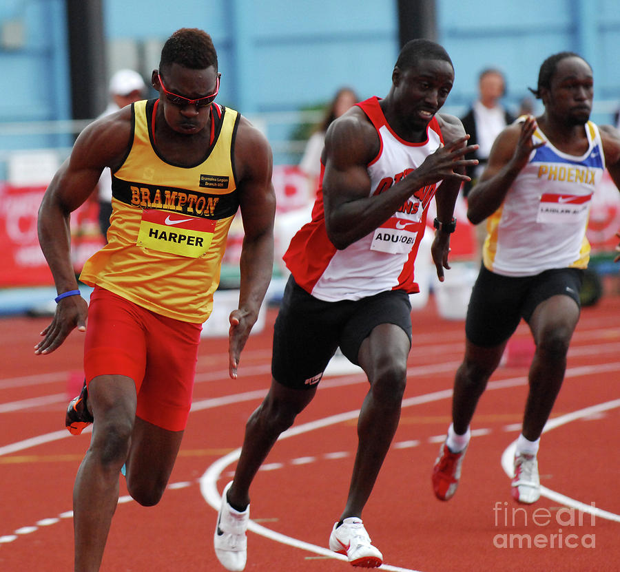 Track Photograph - Mens 200 Meter by Bob Christopher