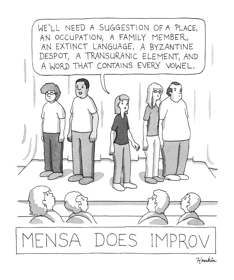Mensa Does Improv Drawing by Charlie Hankin