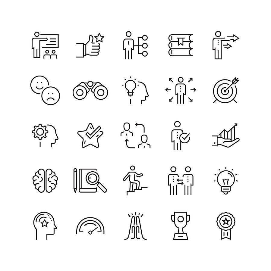 Mentoring and Training Related Vector Line Icons Drawing by Cnythzl